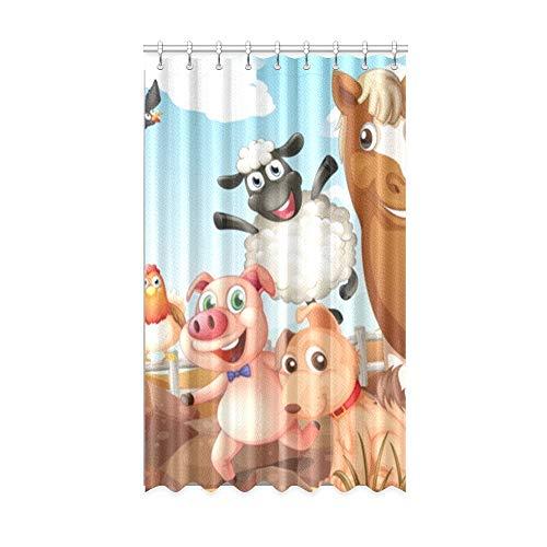 N\A Patio Blackout Vorhänge Farm Yard Nette Cartoon Tierfamilie Wild Home Blackout Vorhänge Badezimmer 50 x 84 Zoll EIN Stück für Patio Glasschiebetür/Schlafzimmer