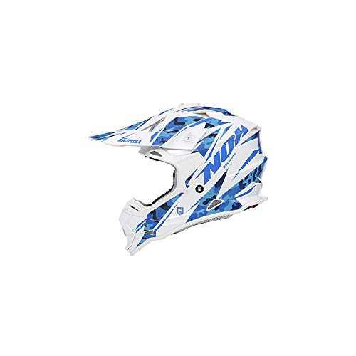 NOX Casco Cross, Bianco/Blu, Bazooka