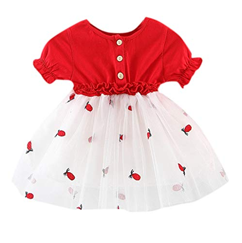 MäDchenkleidung Yanhoo Kleinkind Kinder Baby MäDchen Outfits Kleidung Print T-Shirt Tops + HosenträGer Kleid Love Kurzarm Slingkleid 2 StüCk