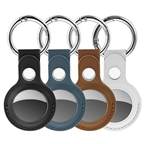 CACOE 4 Stück Leder Schutzhülle kompatibel mit AirTags, PU-Leder Apple AirTag Hülle Schlüsselanhänger Hülle, Schlüsselring Tragbare Mini AirTags, Schlüsselsucher für Apple AirTag Hülle Key Ring