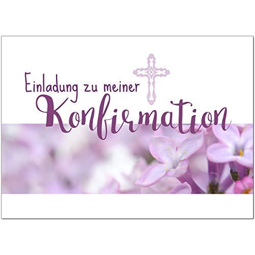15 x Einladungskarten zur Konfirmation mit Umschlägen/Für Mädchen/Konfirmationskarten/Einladungen zur Feier