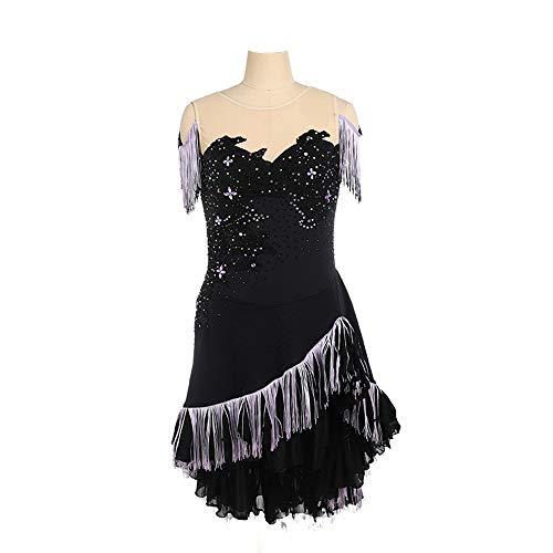 ZFKH Mädchen Eiskunstlauf Kleid Handgefertigt Ärmellos Langer Rock Fasermischung Nylon Material Schwarz Geeignet für Kinder unter 17 Jahren,XS