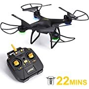 SGILE Grande RC Drone, 22 Minutos de Largo Tiempo de Vuelo, con Rotación de 360 Grados/Modo sinCabeza/Mantenimiento de Altitud, Regalo para Niños y Adultos (Negro)