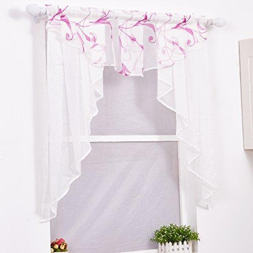 Yujiao Mao Voile Kleinfenster Gardinen Weiss Vorhang Fenstergardine Scheibengardine mit Falten lila BxH 100x100cm