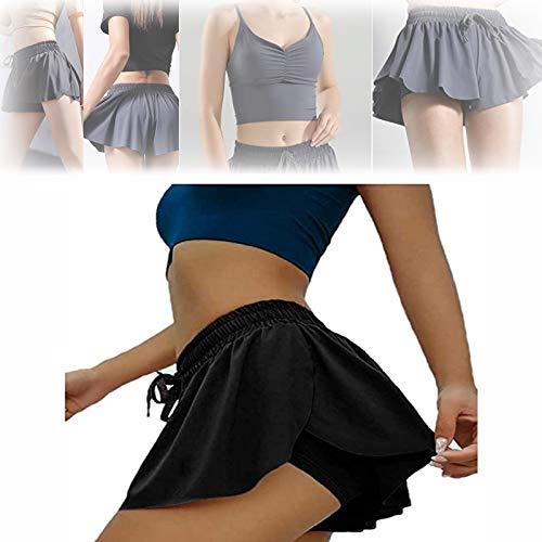 Keiki Kona Shorts, Womens 2in1 Flowy Fitness Shorts, Ruffle Soft Double Layer Yoga Workout Casual Shorts (L, black)