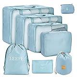 LEEFE トラベルポーチ 8点セット アレンジケース パッキング 旅行用 出張 便利グッズ 衣類収納4個 PC周辺小物用ポーチ1個 靴バッグ1個 洗面用具入れ1個 小物入れポーチ1個 (水色)