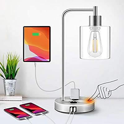 QiMH Industrial Table Lamp for Bedroom,Touch Control Bedside Lamp with USB Port/Outlet Dimmable Glass Shade Nightstand Lamp for Bedroom Office Reading with Bulb (Silver)