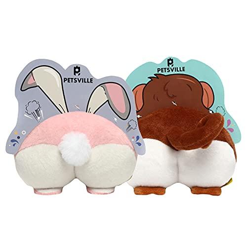 PETSVILLE Peluche suave relleno Squeaky masticar juguetes para perros con lindo diseño animal para masticar y perseguir (conejo/mono)