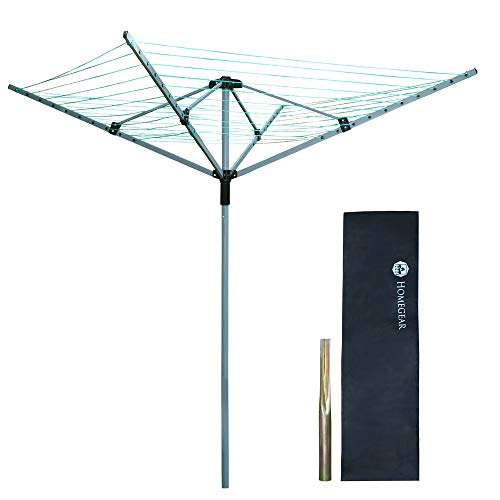 Homegear Outdoor 4 Arm Rotary Clothes Airer Dryer Washing Line with Protective Cover and Ground...