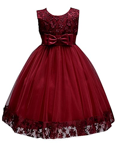 Big Girl Flower Dresses Pageant Party Baptism Baby Sleeveless Girls Toddler Formal Dress Holiday Christmas Ball Gown for Wedding Sundress Elegant Knee Kids Tutu princess Size 7-16 (Burgundy, 10)