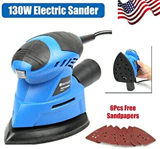 Dust Collection System for DIY Wood Sanding /& Finishing 130W 21000RPM Corded Palm Small Detail Mouse Sander with 6 Sheets