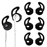 TEEMADE 6 Pieces iPhone Earpods EarHooks Silicone Cover Tips Replacement Ear Gels Buds Anti-Slip Silicone Soft Sports Earbud Tips for iPhone Headphones Earphones (Black)