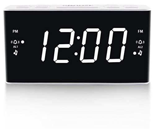 Digital Alarm Clock Radio, Alarm Clocks for Bedrooms with AM/FM Radio, Dimmer, Dual Alarm, Snooze, Sleep Timer, 1.6 Inch White Digit Display.