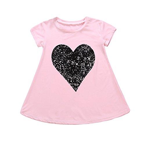 Petite fille robe Love Hearted imprimé bébé manches courtes une pièce jupe pour 1-6 ans
