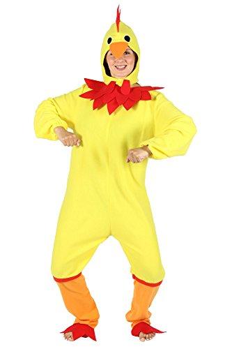 Foxxeo gelbes Hühner Kostüm für Damen - Größe S bis XXL - Huhnkostüm Hühnerkostüm Huhn Hahn Vogel Henne Herren gelb Größe XXL