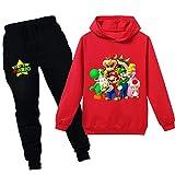 Super Mario Sudadera con capucha de dibujos animados Juego de Bebé Niñas Niños de Ocio Ropa Conjuntos de Niños Sudadera Ropa de Dormir Pijamas Ropa de 2-12Y