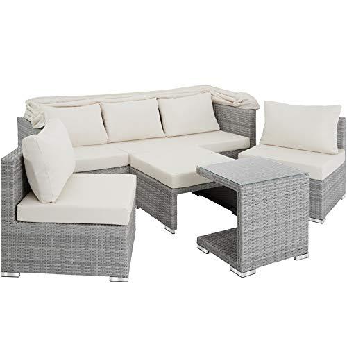 TecTake 800771 Aluminium Poly Rattan Lounge Set, 16-teilig, wetterfest, Garten Sofa mit Sonnendach, Outdoor Sitzgruppe inkl. Kissen und Beistelltisch - Diverse Farben - (Hellgrau | Nr. 403712) - 2
