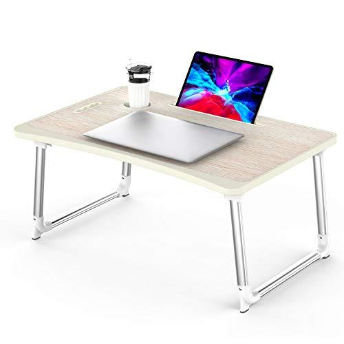 KELOFO Mesa para Ordenador Portátil, Portátil Mesa Cama Plegable Mesa Escritorio Plegable con Portavasos/Soporte para Tableta/Manija (65 * 45 cm, Roble Amarillo)