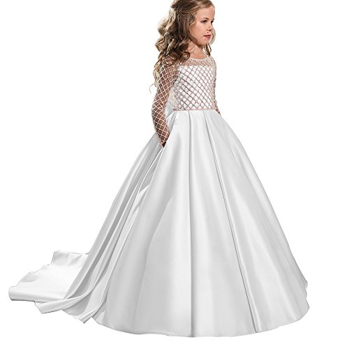 Princess Flower Girl Dresses Lace Long Sleeve Satin Kids Puffy Ball Gown Size 10 White