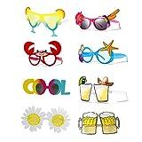 Gafas de Fiesta Divertidas, 8 piezas de Gafas de Fiesta Novedosas para Niños Adultos Gafas de Sol Hawaianas Tropicales para el Apoyo de la Foto de la Fiesta en la Playa Artículos de Fiesta de Verano