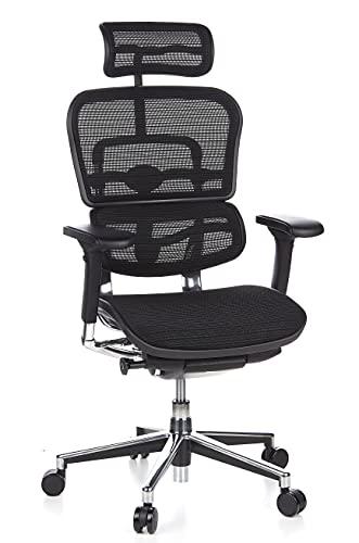 hjh OFFICE 652111 Luxus Chefsessel ERGOHUMAN Netzstoff Schwarz hochwertiger Bürodrehstuhl mit...