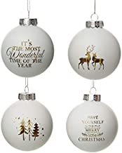 The Christmas Cart Merry Little Christmas Glass Bauble Set|Glass Blauble | Christmas Décor | Set of 4 | Tree Decoration| W...