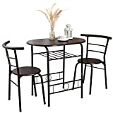 Bonzy Home 3 Pieces Kitchen Table Set, Couple Dining Table Set with Metal Frame and Shelf Storage, Home Breakfast Table MDF Tabletop, 3 Piece Kitchen Table Set Space Saving