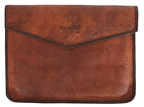 WerKens Genuine Leather Laptop Sleeve a Luxury Laptop Sleeve Cover Case for MacBook and Laptops with Display Sizes 13-13.3-13.5' Inch,Handmade Laptop Leather Sleeve Vintage Document Holder - Brown