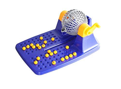Bingo de Juguetes Lotería con 24 cartones y 90 Bolas imborrables, Color Azul.