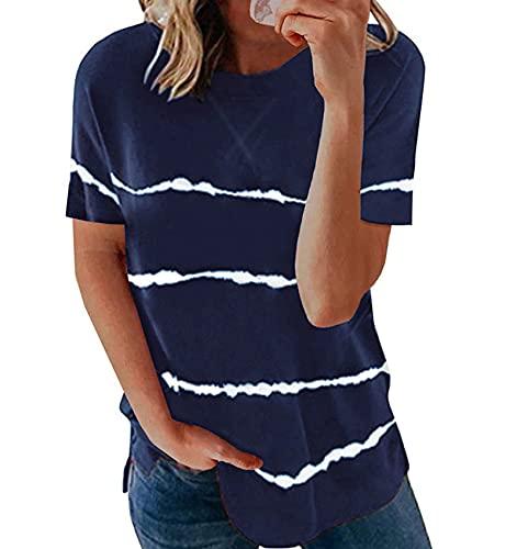 Top para Mujer De Verano Elegante Jersey De Manga Corta con Cuello Redondo Y Manga Corta Camiseta Estampada Top para Mujer