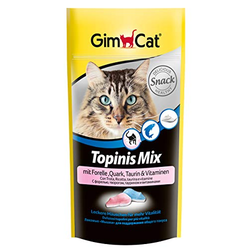 GimCat Topinis Mix mit Forelle, Quark, Taurin und Vitaminen - Gesunder Katzensnack für mehr Vitalität - 1 Beutel (1 x 40 g)