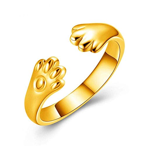 Decorative ring Open Ring For Women,Adjustable Elegant Simple Cute Cat Paw Ring Unisex Golden Jewelry Gifts For Weddings Prom Birthday Anniversary Promise Ring