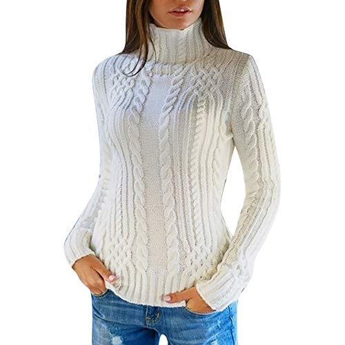 Femmes Pulls Pas Cher A La Mode T-Shirt Pullover Solide Couleur Unie Sweater Chandail Manches Longues Col Roulé Tops Chemise Slim (S(EU34), Blanc)