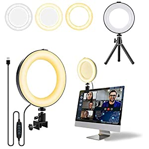 """Video Conference Ring Lighting for Laptop – 6""""LED Ring Light with Tripod Laptop Selfie Light Clip on Desk Clamp Lamp…"""