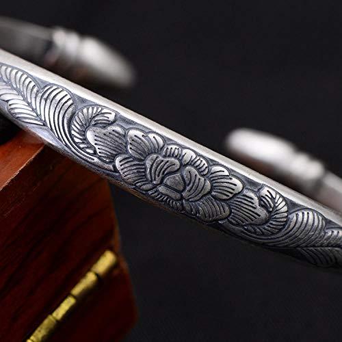 Armband van 925 zilver voor dames, originele S990 zilver vintagess armband etnische stijl sterling zilver retro armband vrouwelijk pioenrose, verstelbare armband in cine-stijl
