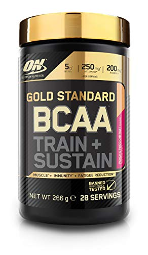 Optimum Nutrition Gold Standard BCAA Branch Chain Amino Acids with Vitamin C, Wellmune and electrolytes BCAA powder By On Peach and Passionfruit, 28 Servings, 266 g
