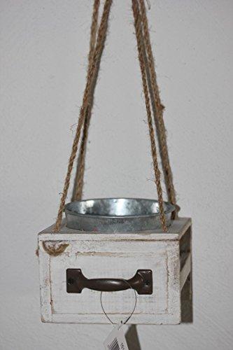 Pot en zinc dans boîte en bois par suspendre, 12,5 x 12,5 x 38 cm