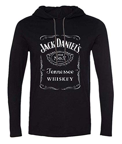 Jack Daniel's Classic Logo Long Sleeve Men's Hooded Tshirt X-Large Black