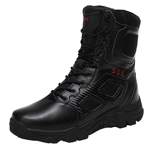 Botas Tácticas Militares Hombre Ligeras Transpirables Jungle Boots Cordones High Top Side Zip Zapatillas Sintético Cuero para Trekking Aire Libre