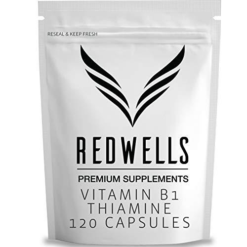 Vitamin B1 Capsules Thiamine REDWELLS No Additives High Strength 200mg - 120 Pack