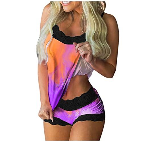 ddfd Dos Piezas de Encaje Pijama de para Mujer, Tirantes Sexy Verano Corto Conjuntos Ropa de Dormir Satinada Comoda y Suave, Conjunto de Pijamas de Camisola Corta Sexy