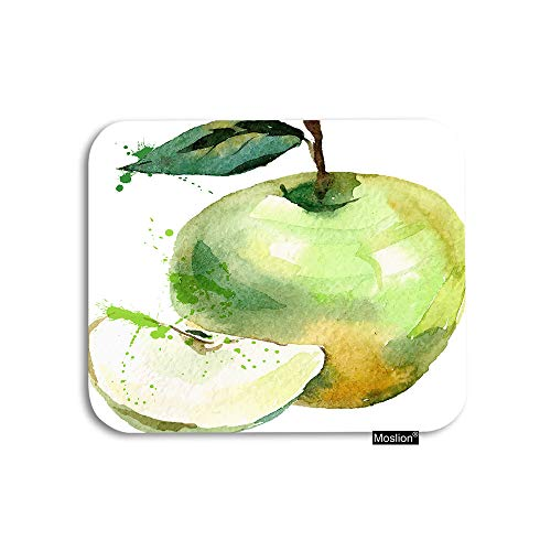 Moslion Fruits Mouse Pad Watercolor Organic Fruit Slice Seed Leaf Gaming Mouse Pad Rubber Large Mousepad for Computer Desk Laptop Office Work 7.9x9.5 Inch Green White