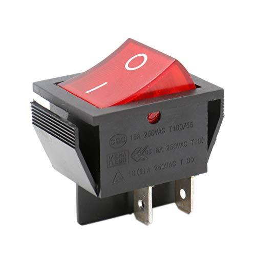 Movilideas Interruptor basculante Cuadrado Rojo SPST 4 terminales Con Luz 1 6A 250VAC UL VDE 1 Unidad