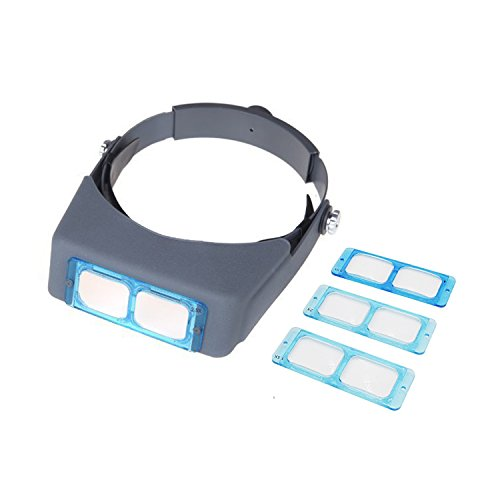 PHYHOO Headband Magnifier Binocular Magnifying Glass Jewelry Magnifiers Head-mounted Double Lens Reading Jewelers Tools Head Wearing 4 Magnifications