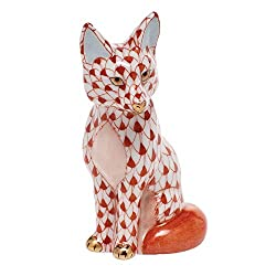 Amazon Herend Sitting Fox Porcelain Figurine Rust Fishnet