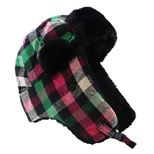 Plaid Trapper Hat Bomber Cap Unisex Small/Medium Hat - Hot Pink Green
