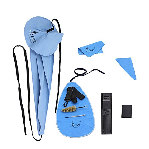 Andoer Saxophone Cleaning Care Kit Belt Thumb Rest Cushion Reed Case Mouthpiece Brush Mini Screwdriver Cleaning Cloth (Blue) thumbnail image