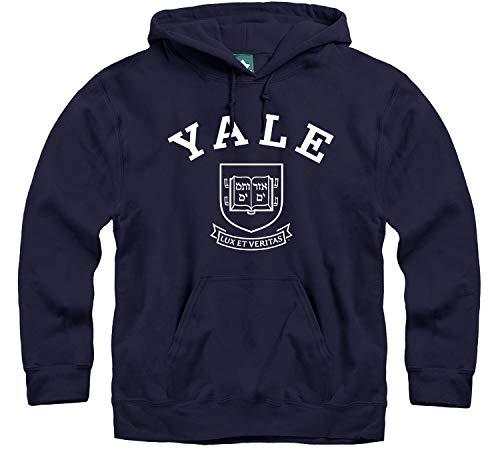 Ivysport Kapuzen-Sweatshirt, Herren und Damen, Schulfarbe, Heritage-Logo, NCAA Colleges und Universitäten, Unisex, Yale University - Marineblau, Small