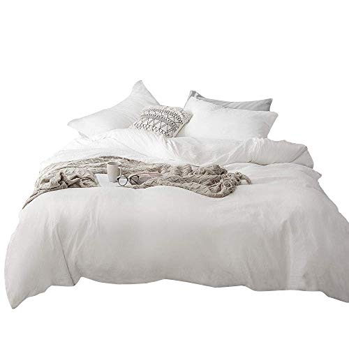 mixinni Hotel Quality 3pc Duvet Cover Set Queen White 100% Washed Microfiber 1 Duvet Cover with Matching 2 Pillowcases Ultra Soft with Zipper Ties for Him and Her-Full/Queen