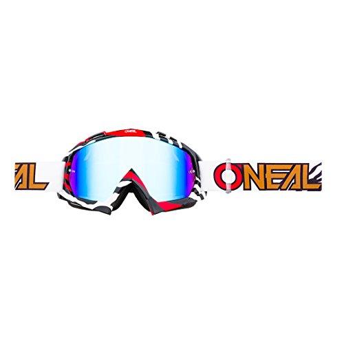 O'NEAL   Fahrrad- & Motocross-Brille   MX MTB DH FR Downhill Freeride   Hochwertige 1,2 mm-3D-Linse für ultimative Klarheit, UV-Schutz   B-10 Goggle   Unisex   Schwarz Rot verspiegelt   One Size